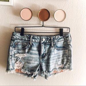 AEO Acid Wash Stretch Shorts with Crochet Pockets